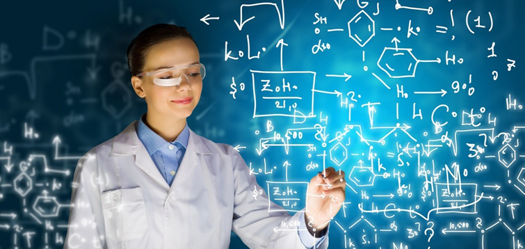 woman researcher writing on white board